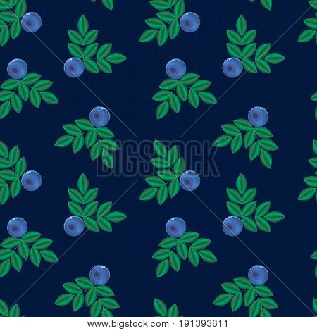 vector illustration, imitation of embroidery. blue forest summer berry with green leaves seamless pattern. Bilberries. background for textile, wallpaper, covers, surface, print, gift wrap.