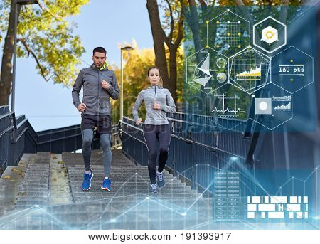 fitness, sport and people concept - couple running downstairs in city