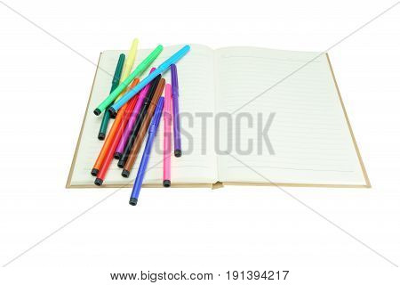 MultiColored Felt-Tip Pens or marker pens on notebook isolate on white background