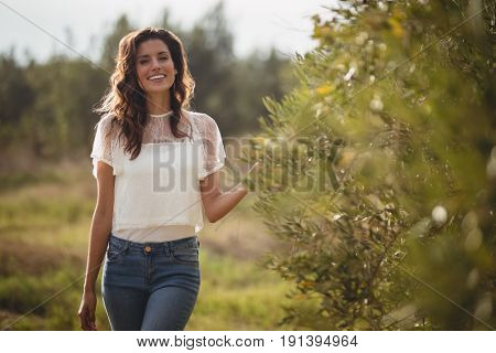 Portrait of beautiful young woman standing by trees at olive farm