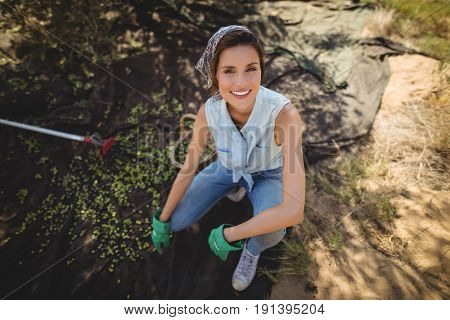 High angle portrait of smiling woman crouching on field at olive farm