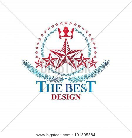 Ancient Star emblem decorated with imperial crown and laurel wreath. Heraldic vector design element 5 stars award symbol. Retro style label heraldry logo.