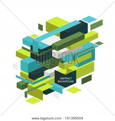 Abstract colorful geometric isometric background. Minimalistic design creative concept. Modern style abstraction with composition made of various cube shapes in color.
