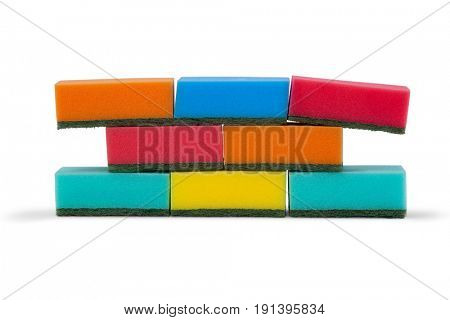 Stacked of sponge pads arranged on white background