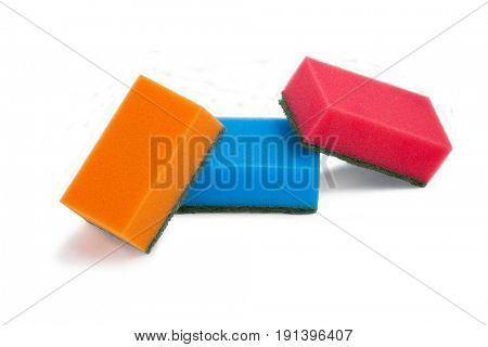 Various scouring pads arranged on white background