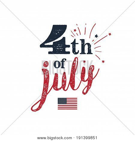 4th of July. USA Independence Day. 4th of July typography illustration. Vintage design.