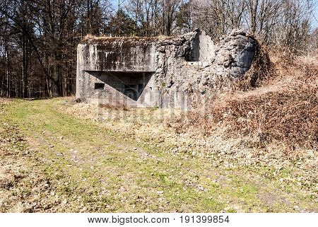 partly destroyed MO-S-14 fortification near Ostrava city in Czech republic built before Second World War to protect Czechoslovakia against Nazi Germany