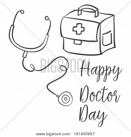 Collection stock of doctor day celebration vector art