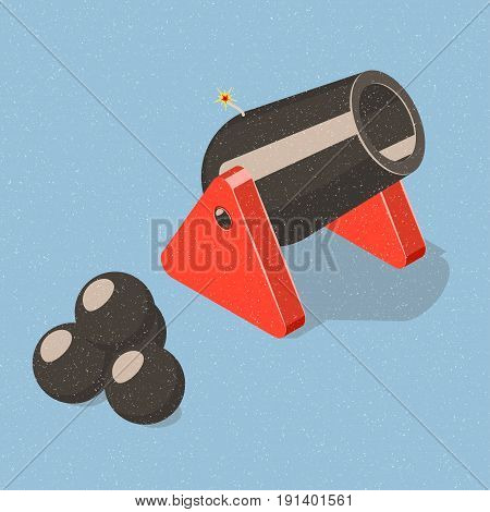 Cannon and cannonballs on blue background. Isometric vector illustration
