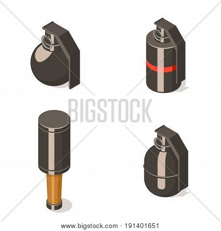 Hand grenades set isolated on white background. Isometric vector illustration