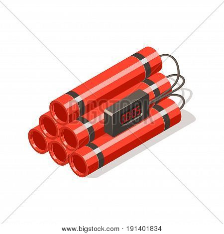 Dynamite bomb with digital timer. Isometric vector illustration