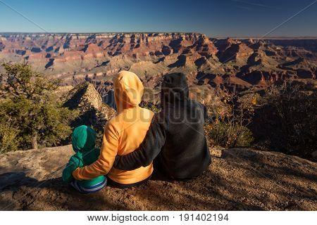 A family in Grand Canyon National Park South Rim Arizona USA