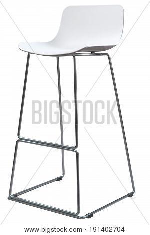Modern White Plastic Bar Stool. Designer bar chair isolated on white.