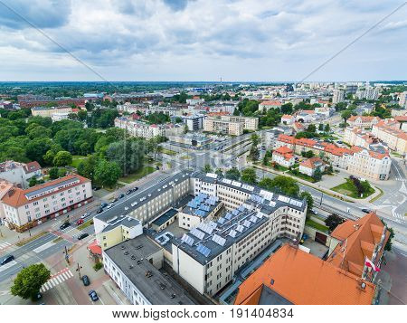 Aerial view of modern buildings in Elblag Poland