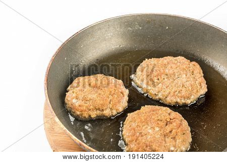 Frying Meatballs Of Minced Meat In The Frying Pan On The Oil