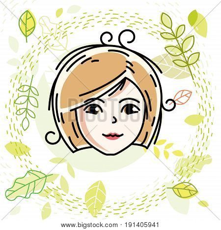 Vector illustration of beautiful blonde female face positive face features spring theme clipart.
