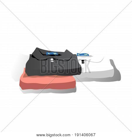 Illustration of a Stack of Neatly Folded Clean Clothes