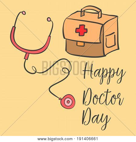 Collection stock card style doctor day vector art