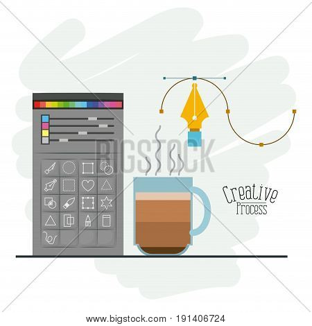 colorful background with color palette and tool box for designer graphic and hot coffee cup vector illustration