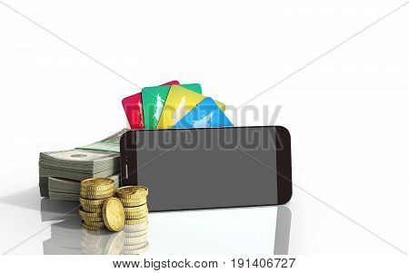 Mobile Banking Concept Mobile Phone With Dollar Stacks Coins And Credit Cards 3D Render On White Gla