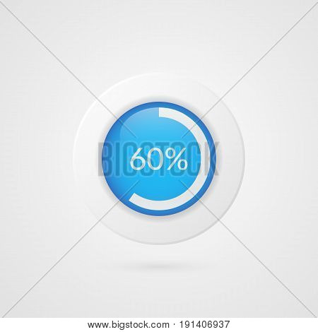 60 percent blue white pie chart. Percentage vector infographics. Sixty Circle diagram isolated symbol on gradient background. Business illustration icon for marketing presentation project data report information plan web design