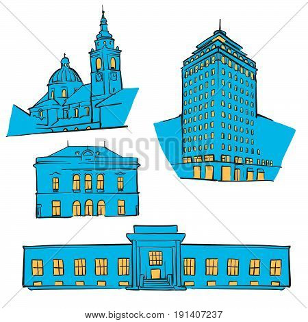 Ljubljana Colored Landmarks
