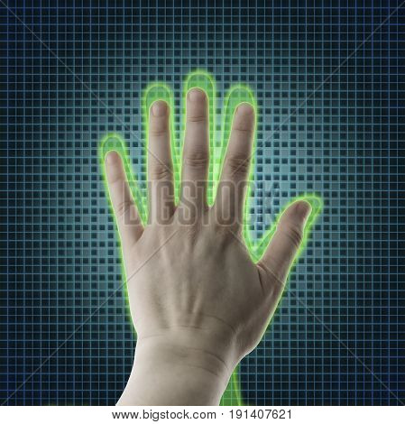 A hand reaches towards a human hand Virtual reality projection Artificial intelligence (AI) and High Tech Concept. Human and conceptual cyberspace smart artificial intelligence. Future science with modern technology.