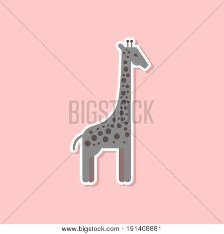 paper sticker on stylish background of cartoon giraffe