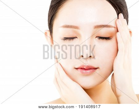 closeup young asian beauty face isolated on white