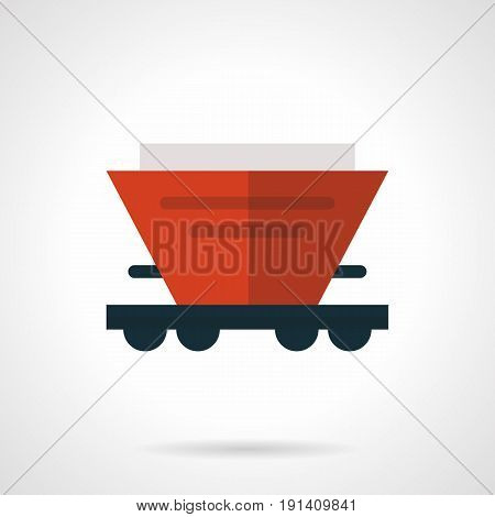 Abstract symbol of red hopper wagon or rail car for bulk cargoes. Railroad transportation of different freights. Flat design vector icon.