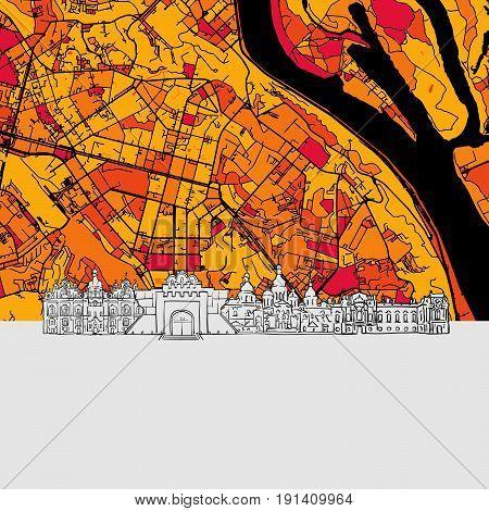 Kyiv Skyline Map