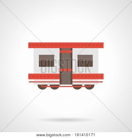 Symbol of white rail car for train. Passenger railroad transportation concept. Flat color style vector icon.