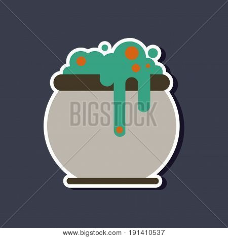 paper sticker on stylish background of halloween witches cauldron