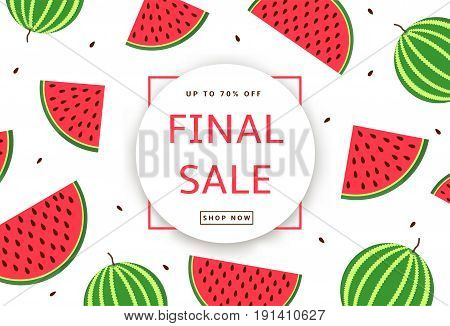 The colorful background with watermelons. Final Sale poster banner. Vector illustration