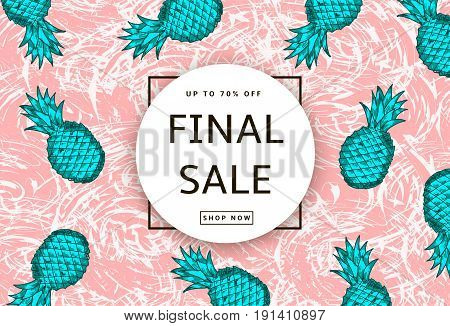 Hand drawn green pineapples on the pink abstract background. Final Sale banner poster. Vector illustration