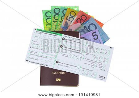 Blank Australia Outgoing passenger card on passport with different Australian dollar money banknote isolated on white background