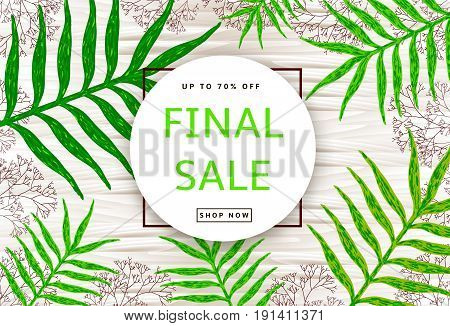 The green leaves and branches on the wood background. Final sale poster banner. Vector illustration