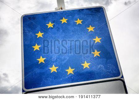 Flag of European union. The collapse of EU.