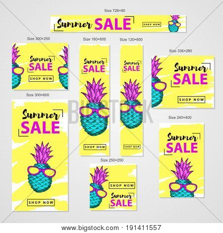 Summer sale- web banners set with colorful hand drawn pineapple in sun glasses. Vector illustration
