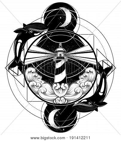 Vector hand drawn illustration of lighthouse with rays and waves. Tattoo artwork with whales. Template for card poster banner print for t-shirt.