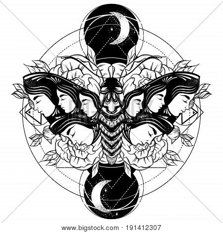 Vector hand drawn illustration of moth with female faces on the wings with flowers. Tattoo art. Template for card poster banner print for t-shirt.