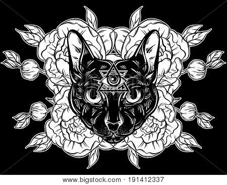 Vector hand drawn illustration of cat with flowers. Character design. All seeing eye pyramid symbol.Egyptian spirituality boho design. Template for card poster banner print for t-shirt.