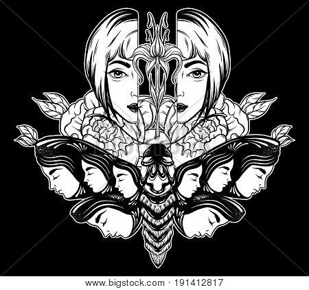 Vector hand drawn illustration of moth with female faces on the wings with flowers. Tattoo art with strange woman head. Template for card poster banner print for t-shirt.