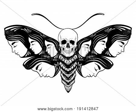 Vector hand drawn illustration of moth with female faces on the wings with flowers and human skull. Tattoo art. Template for card poster banner print for t-shirt.