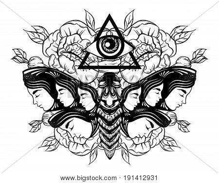 Vector hand drawn illustration of moth with female faces on the wings and flowers. All seeing eye pyramid symbol. Tattoo art. Template for card poster banner print for t-shirt.