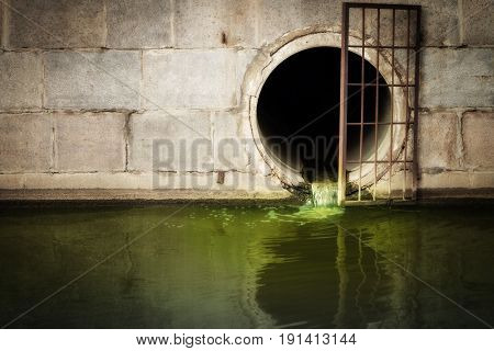 Discharge of sewage into the river city