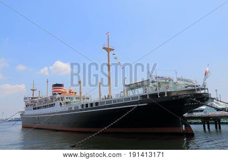 YOKOHAMA JAPAN - MAY 28, 2017: Historical Hikawamaru ship. Hikawamaru was launched in1929 and made her maiden voyage from Kobe to Seattle in 1931