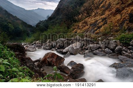 A long exposure of the Langtang river at dusk, Nepal