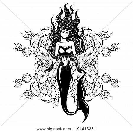 Vector illustration of beautiful mermaid with long hair and flowers made in realistic hand drawn sketch line stile. Template for postcard poster banner sticker badge and print for t-shirt