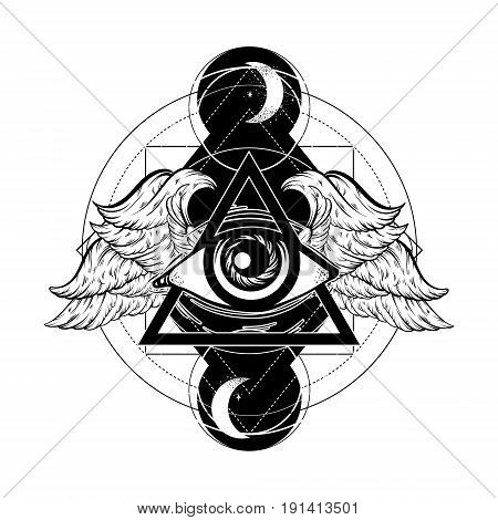 Vector hand sketched illustration. All seeing eye pyramid symbol with wings. New World Order. Hand drawn Eye of Providence. Alchemy religion spirituality occultism tattoo art. Template for poster print for t-shirt.